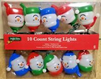 Set of 10 Snowman String Light Set green Wire New 7.5ft.Indoor/Outdoor 120V 60Hz