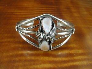 Vintage Pink Mother of Pearl Sterling 925 Silver Cuff Bracelet