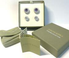 2 Prs Judith Ripka Interchangeable Amethyst & Diamonique Sterling Earrings w box