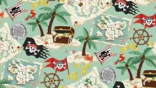 PIRATES Treasure Map green Cotton fabric Makower  55 cm x 50 cm larger available