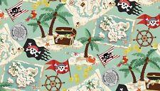 """Pirati Mappa del tesoro tessuto di cotone verde Makower Taglia 22"""" x18"""" più grande disponibile"""