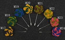 """Handmade Men's Flower Lapel Pin 1.5"""" Mixed Color Wool Felt Boutonniere ML10"""