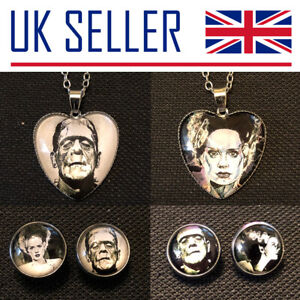Bride of Frankenstein & Monster Jewellery - Stud Earrings, Necklace, Horror