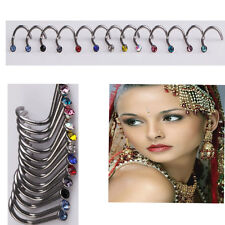 20X Nose Rings Rhinestone Nostril Nose Ring Screw Studs Body Piercing Jewelry