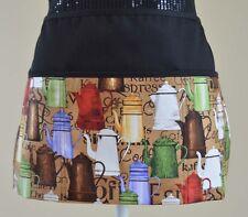 3 pocket waist aprons server waitress waiter coffee pots retro print