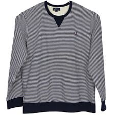 Fred Perry Mens Crew Neck Pullover Sweatshirt Size 2XL Navy Blue White Striped