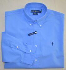 New Large L POLO RALPH LAUREN Mens long sleeve button down dress shirt blue top