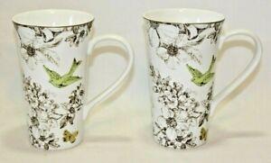 222 Fifth  Pembroke Green Porcelain Latte Mugs Set of Two - Bird & Flowers New