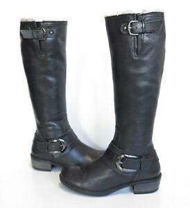 Ladies JONES Bootmaker Black soft leather knee length Low-heeled boots Size UK 5