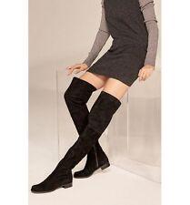 NIB $798+ Stuart Weitzman HILO Thigh High Boot Black Suede Leather OTK  Sz 10.5