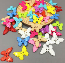 50pcs Mixed Color Resin Butterflies Sewing Buttons Scrapbooking Decoration 21mm