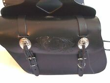 """New genuine black cowhide leather motorcycle saddle bags 13""""x 10""""x 5""""made USA"""