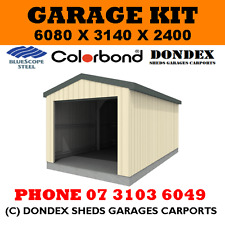 DONDEX Single Garage Shed Kit 6.08 x 3.14 x 2.4 Gable Zinc Roof Colorbond Walls