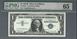 US Silver Certificate 1957B ✨ $1 REPLACEMENT NOTE Fr#1621* ✨ PMG 65 GEM UNC #442