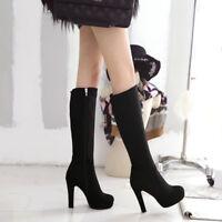 Women's Zip High Heel Block Platform Knee High Boots Party Shoes UK Size 1-8