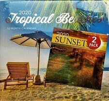 2020 12 MONTH CALENDAR 2 PACK - TROPICAL BEACHES/SUNSETS