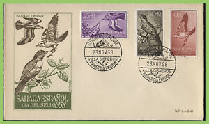 Spanish Sahara 1958 Stamp Day, Birds set on First Day Cover