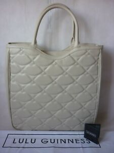 Lulu Guinness Wanda tote bag LARGE Cream leather with quilted lulu hearts logo