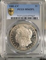 1881 CC Morgan Silver Dollar $1 Coin PCGS MS63PL