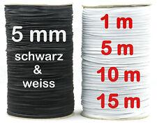 Gummiband 5 mm, Gummilitze für Mundschutz Masken, weiß und schwarz, Meterware