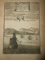 1683 COPPER ENGRAVING A.M.MALLET AFRICA VIEW OF ALGIERS ALGERIA