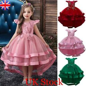 Kids Girls Tulle Tutu Tulle Wedding Birthday Party Bridesmaid Princess Dress UK