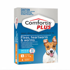 Comfortis Plus Orange for Small Dogs 4.6-9kg Worms Heartworm Fleas 6 pack