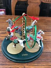 Hallmark 1989 Christmas Carousel Horse Display Stand with Snow Holly Star Ginger