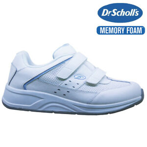 LADIES DR SCHOLLS LEATHER WIDE FIT MEMORY FOAM WALKING GYM TRAINERS SHOES SIZE