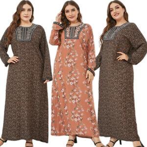 Vintage Abaya Women Plus Size Kaftan Embroidert Long Maxi Dress Muslim Gown Robe