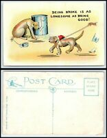 Vintage DOG Postcard-Dog Next To Trash Can w/Can Tied To Tail, Dog Walking By R6