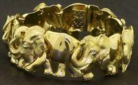 Natan designer heavy 18K YG .06CT diamond trunks up elephant bracelet