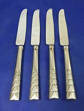 Vera Wang PLISSE Hollow Handle Dinner Knives Stainless Flatware Set Of 4 EXC!