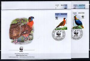 BT142643/ BHUTAN – WWF – BIRDS – Y&T # 1745 / 1748 USED – FDC – COMPLETE