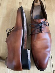CARLOS SANTOS DERBY SHOES MICHAEL 7201 TAN LEATHER GOODYEAR WELTED SIZE 12