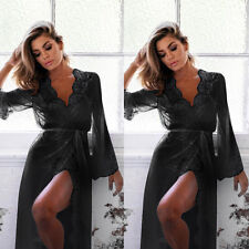 Sexy-Lingerie-Sleepwear-Lace-Women's-G-string Long Bathrobe Night Gown Robe