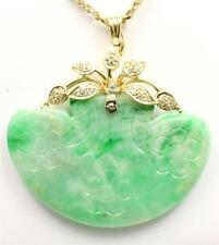 Genuino Natural jade verde jadeíta & Diamante Colgante en 14k ORO AMARILLO
