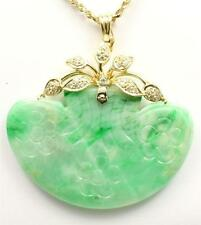 GENUINE NATURAL GREEN JADE JADEITE & DIAMOND PENDANT IN 14K YELLOW GOLD