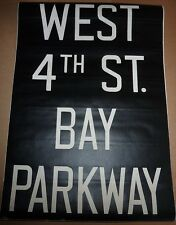 1940's Vintage New York City Subway R1 R9 Front Destionation Rollsign WEST 4thST