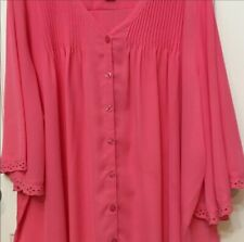 Womens Sz 32W 5X Pink Shirt/Blouse Half Sleeve Button Front. Lovely. Feminine.