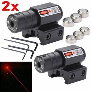 2 Pack Tactical Red Laser Beam Dot Sight Scope For Gun Rail Pistol Weaver 20mm