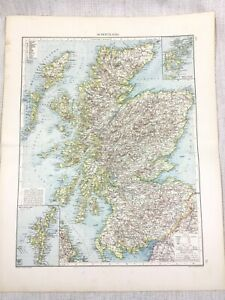1896 Antique Map of Scotland Scottish Highlands Original German 19th Century