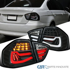 For 05-08 BMW E90 3 Series Sedan LED Tube Black Tail Lights Brake Lamps Pair