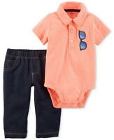 Carter's Baby Boy Sunglasses Polo Bodysuit & Faux-Denim Pants Set 9M