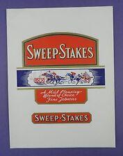 Vintage Sweep Stakes Tobacco Label - Original Unused Stock