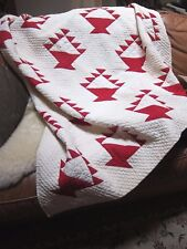 "Antique cl890-Hand Quilted Red/Cream Saw tooth Baskets Quilt~74""X 61"""