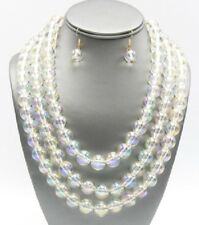 """17"""" ab clear chunky bubble layered bib necklace 1.50"""" earrings"""