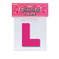 L Plate Pink Ribbon Bride To Be Hen Party Do Girls Night Out Fun Accessories
