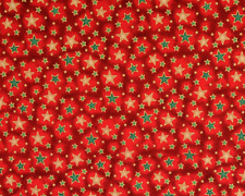 Christmas Shining Metallic Stars Fabric Red Green Cream Festive Advent Material