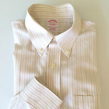 Brooks Brothers Dress Shirt 16-35 Cotton No Iron Beige White Stripe